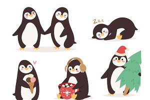 Penguin set vector