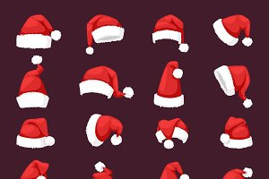 Vector red christmas santa hat
