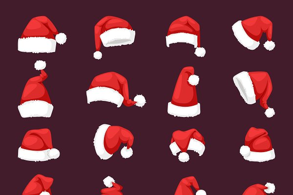 Vector red christmas santa hat