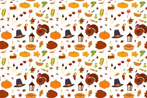 Vector thanksgiving day food pattern