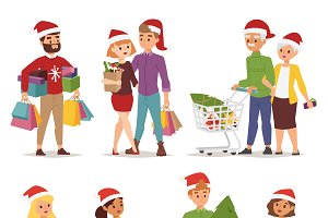 Vector shopping people christmas