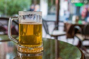 glass of light beer in restaurant