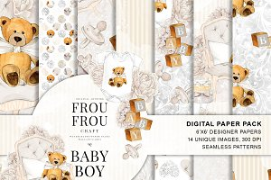Baby - Watercolor Neutral Paper Pack