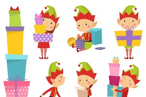 Santa Claus elf helpers vector