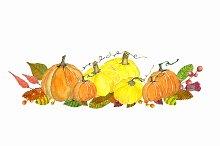 Watercolor Autumn Pumkin Clipart