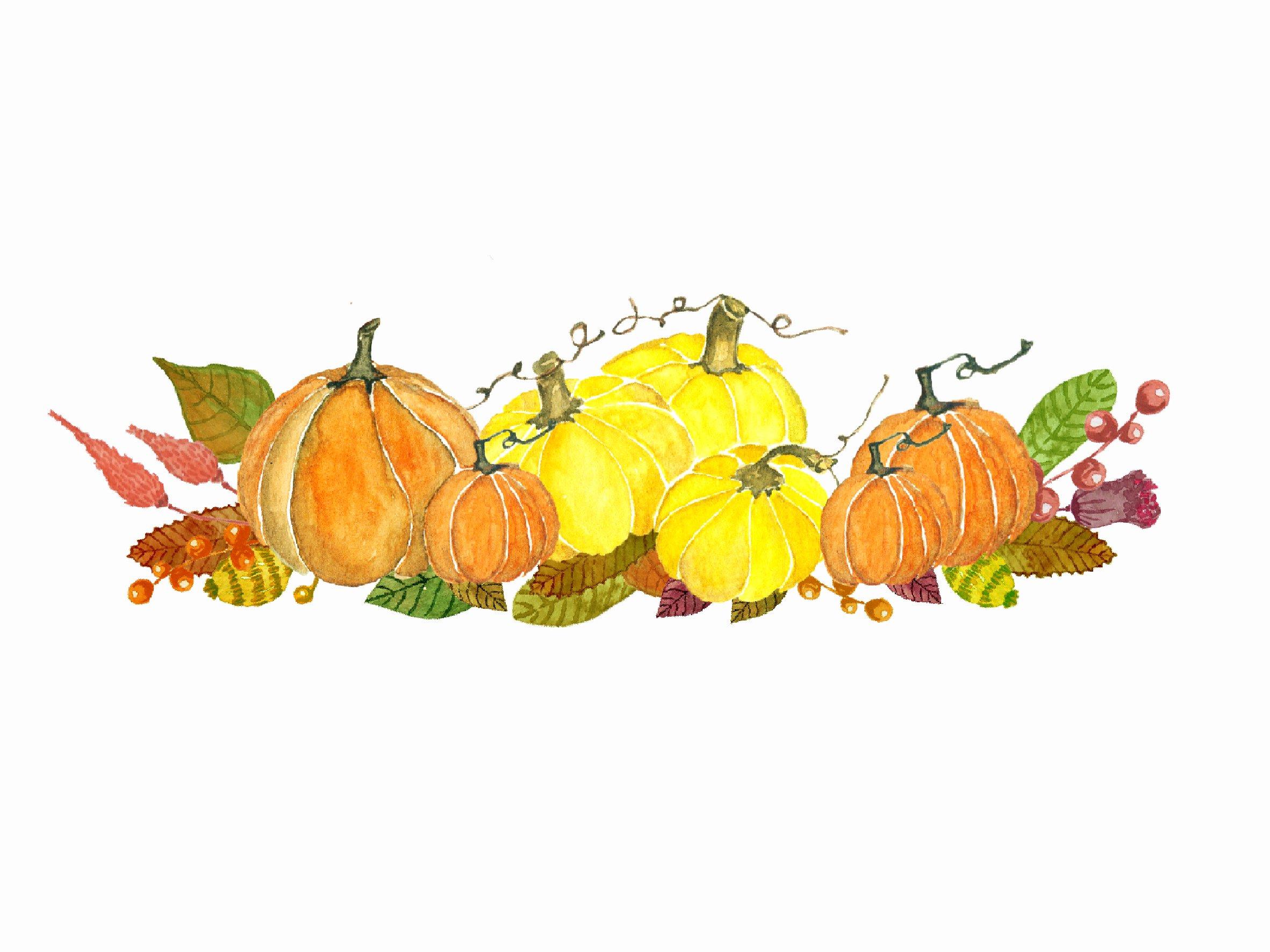 Watercolor Autumn Pumkin Clipart ~ Illustrations ... (2363 x 1772 Pixel)