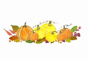 Watercolor Autumn Pumkin Clipart