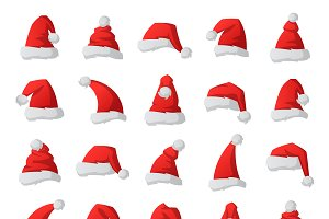 Christmas santa hat vector set