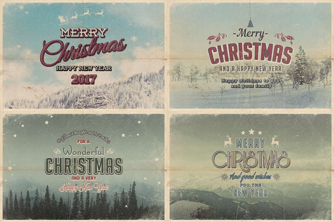Vintage Christmas Cards ~ Card Templates ~ Creative Market