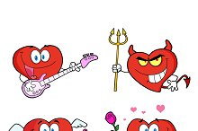 Heart Cartoon Style. Collection