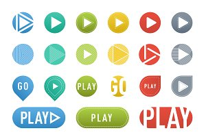 UI interface buttons vector set