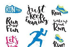 Vector running marathon logo