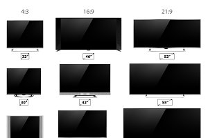 TV screen lcd monitor vector