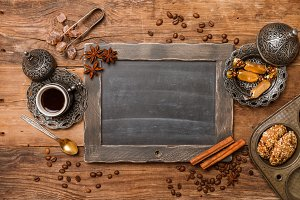 Cup of coffee and chalk board