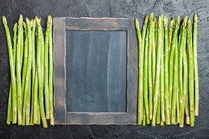 Asparagus with chalk board