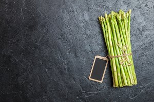 Asparagus with chalk board