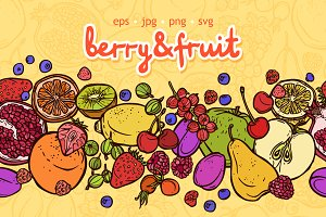Fruit&Berry Sketch Style