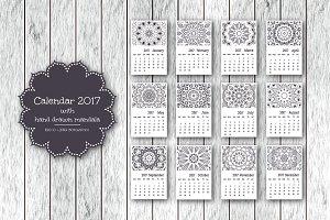 Calendar 2017 with mandala.