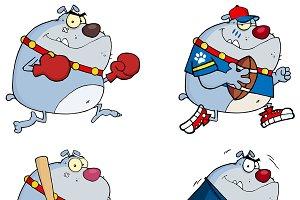 Bulldog Cartoon Style. Collection