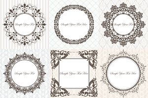 Baroque frames on vintage background