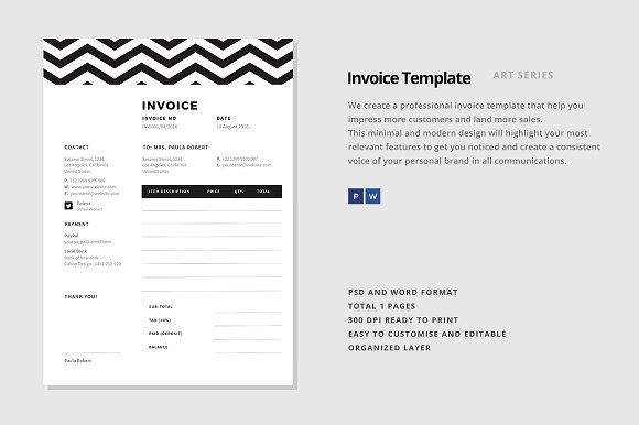 Invoice Template Stationery Templates Creative Market - Invoice design template