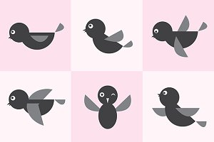 Set of vector bird icons.