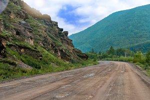 gravel road to the shore of Lake Baikal