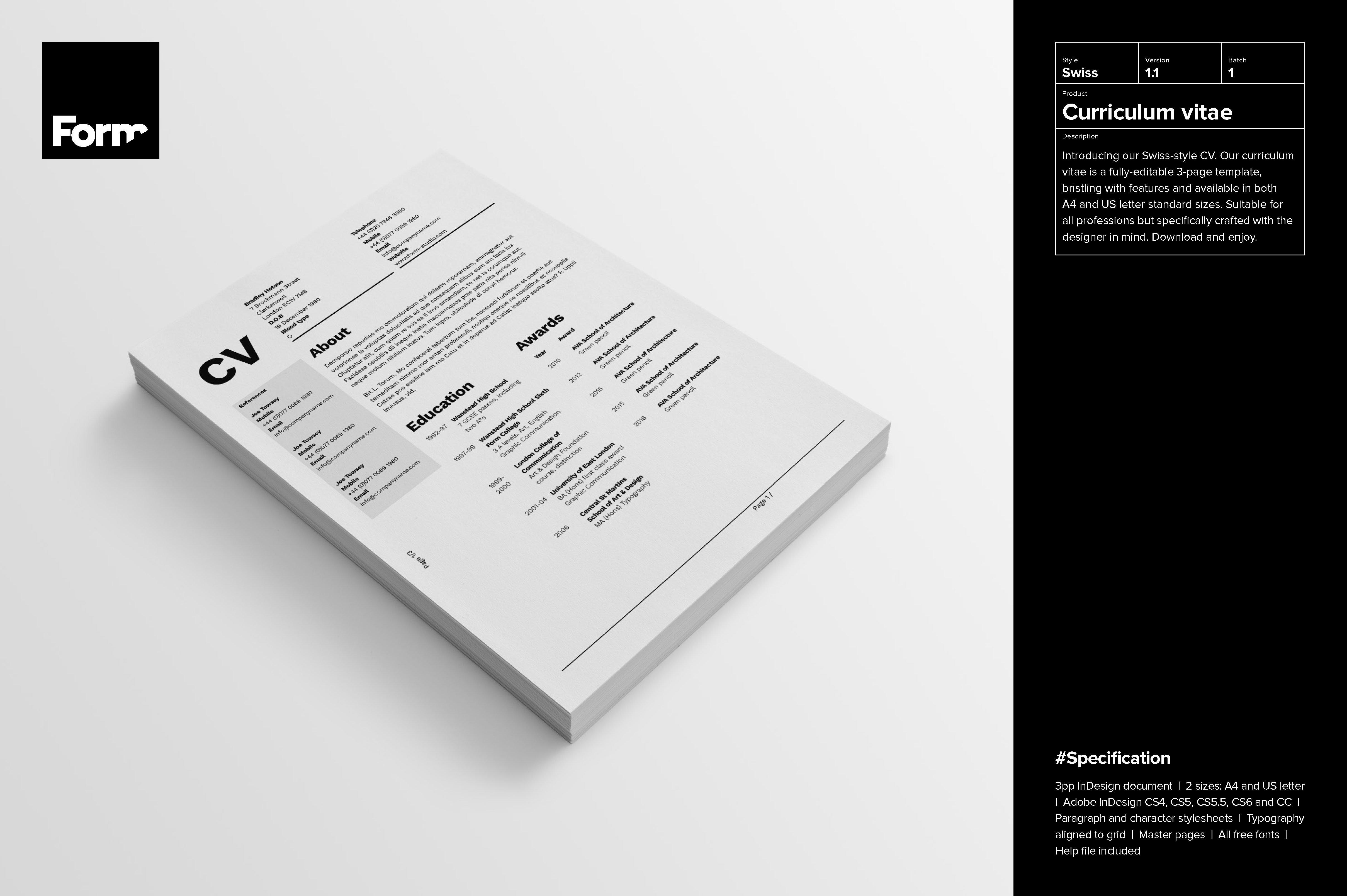 curriculum vitae resume templates on creative market
