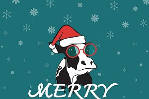 Merry christmas greeting cow card