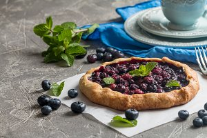 Homemade blueberry galette