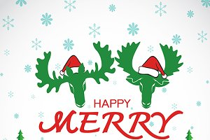 Merry christmas greeting moose deer