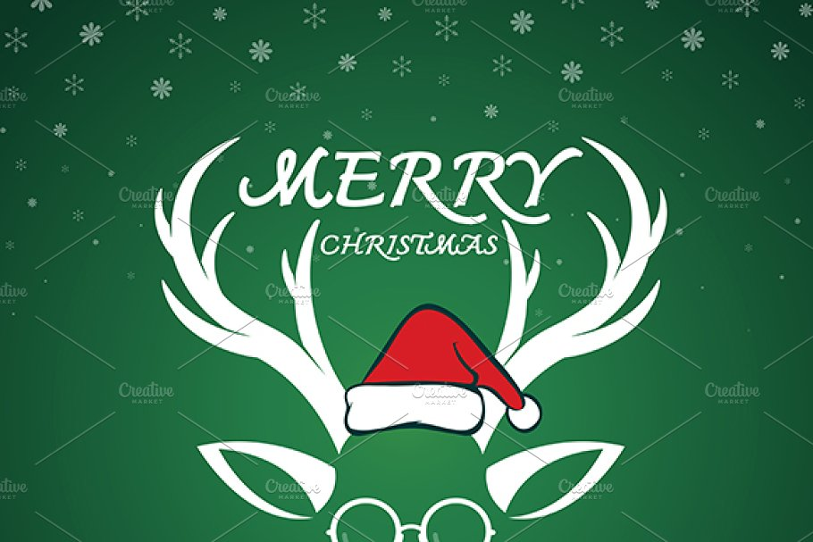 71940e41a1a8a Antler and santa hat and eyeglasses ~ Illustrations ~ Creative Market