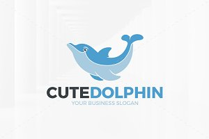 Cute Dolphin Logo Template