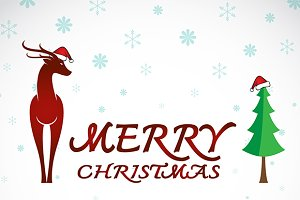 Merry christmas greeting deer.