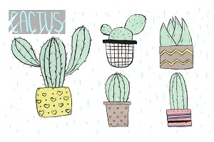 Set of marker cactus stickers