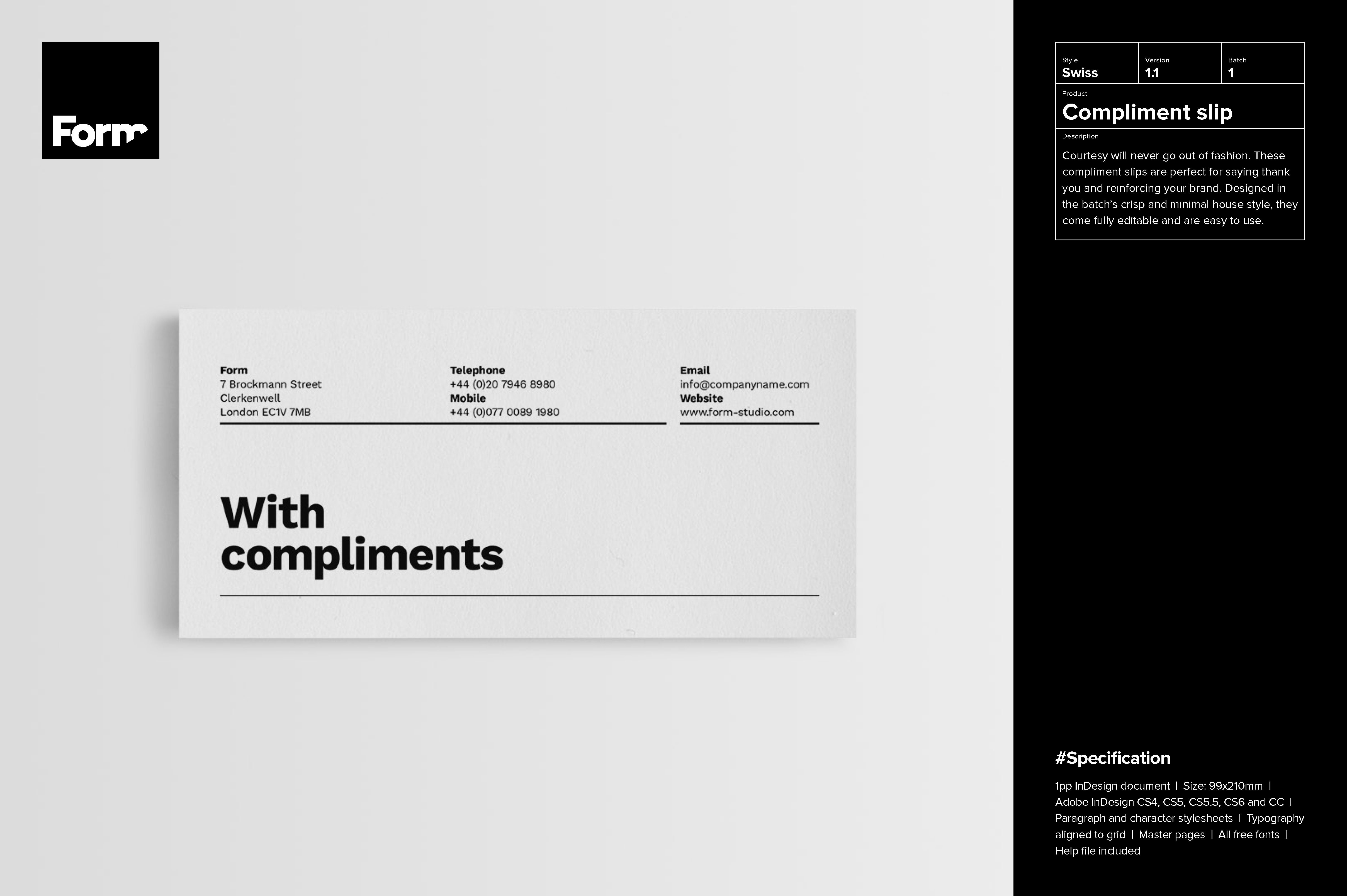 Compliment slip Stationery Templates on Creative Market – Compliment Slip Template