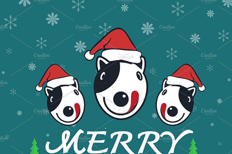 Merry Christmas Greeting Dog Card Illustrations Creative Market