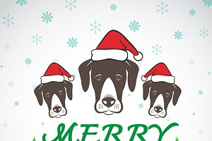 Merry christmas greeting dog card.