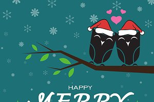 Merry christmas greeting owl card.