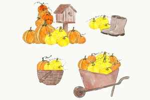 Autumn Watercolor Clipart Set
