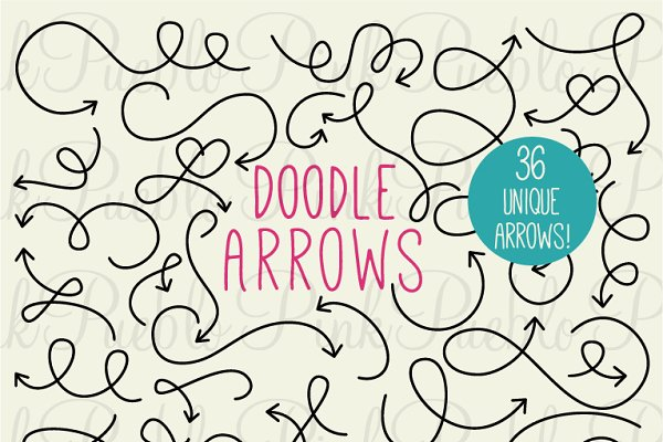 Doodle Arrows Clipart and Vectors