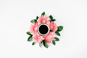Coffee mug and gerbera daisy