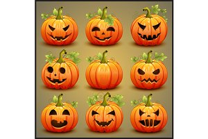 Big set of pumpkins for Halloween.