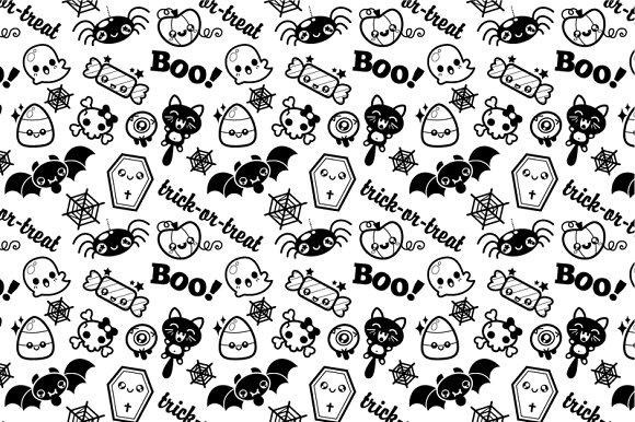 Cute Kawaii Halloween Pattern ~ Patterns ~ Creative Market