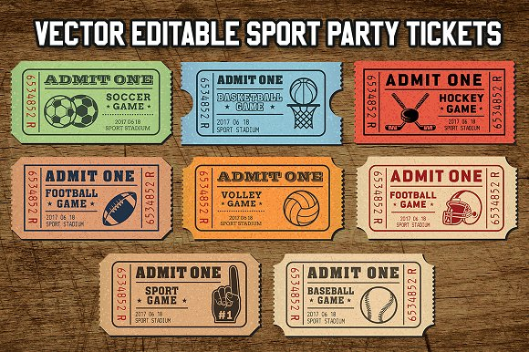 vector sport tickets templates illustrations creative market