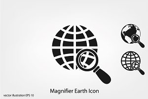 Magnifier Earth Icon