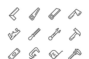 Set line icons of hand tool