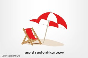 umbrella and chair icon vector