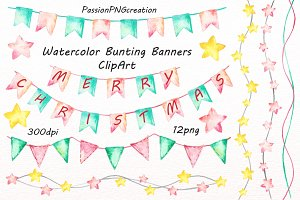 Watercolor Bunting Banners Clipart