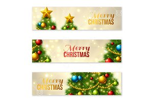 Banners with Christmas tree